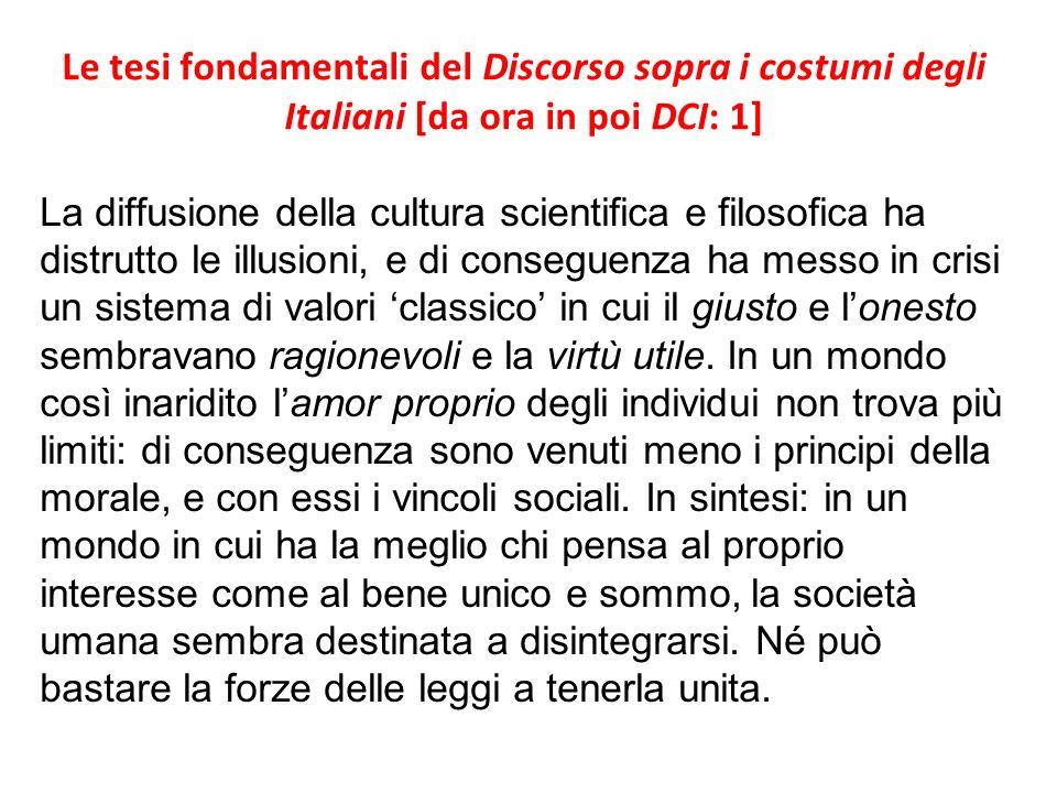 Le tesi fondamentali del Discorso sopra i costumi degli Italiani [da ora in poi DCI: 1]